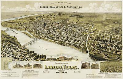 Bird Painting - Birds Eye View Of Laredo Texas 1892 by Bill Cannon