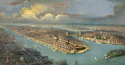 Brooklyn Bridge Drawing - Bird's Eye View Of New York City  by American School