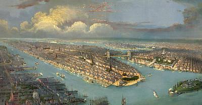 Bird's Eye View Of New York City  Print by American School