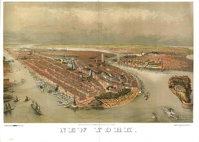 Birds Painting - Bird's-eye View Of New York Showing The Waterfron by Celestial Images