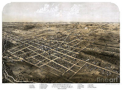 Vintage Map Painting - Birds Eye View Of The City Of Coldwater, Michigan - 1868 by Pablo Romero