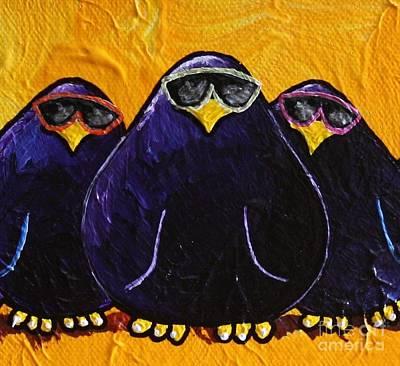 Limbbirds Painting - Birds In Black 2 by LimbBirds Whimsical Birds
