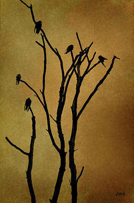 Birds In Tree Print by Dave Gordon