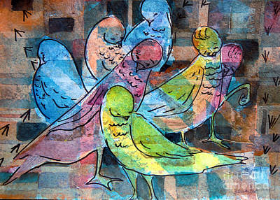 Abstraction Drawing - Birds Of A Feather by Mindy Newman