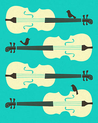Birds On Cello Strings Print by Jazzberry Blue
