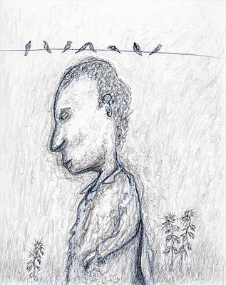 Contemplating Drawing - Birds On The Wire by Jim Taylor