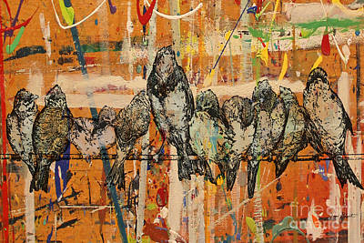 Graphic Digital Art Painting - Birds On Wood-jp3028 by Jean Plout