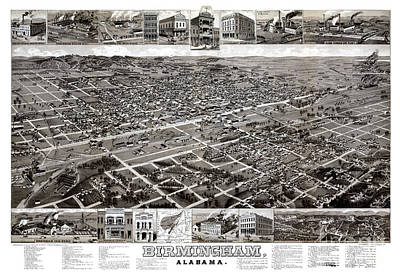 Vintage Map Painting - Birmingham - Alabama - 1885 by Pablo Romero