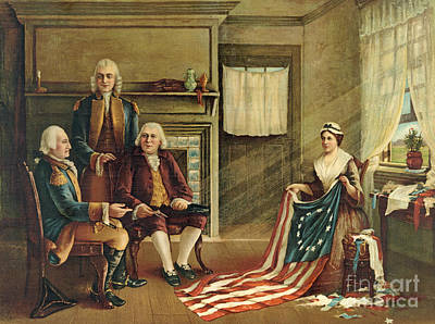 George Washington Drawing - Birth Of Our Nation's Flag by G H Weisgerber