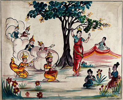 Birth Of The Buddha Scene With Queen Print by Wellcome Images