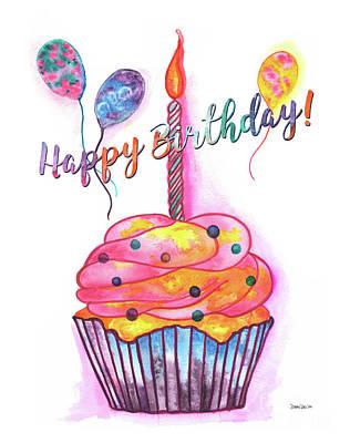 Birthday Cupcake Print by Debbie DeWitt