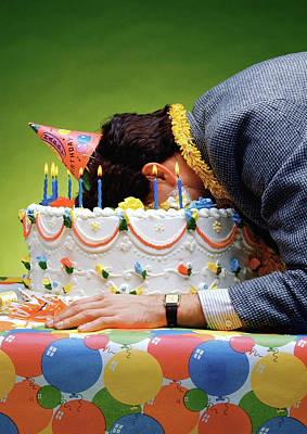 Birthday Depression - Man's Face Buried In A Birthday Cake Print by Stan Fellerman