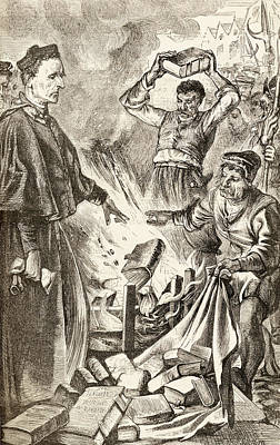 Copy Drawing - Bishop Tunstall Burning Copies Of by Vintage Design Pics