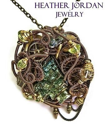 Vaseline Glass Jewelry - Bismuth Uranium Vaseline Glass Swarovski Crystal And Quartz Steampunk Pendant In Bronze Stmbsm39 by Heather Jordan