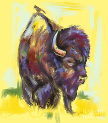 Bison Mixed Media - Bison And Bird by Go Van Kampen