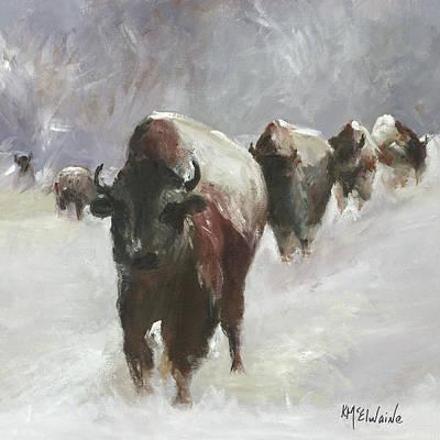Bison Run Oil Painting By Kmcelwaine Original by Kathleen McElwaine