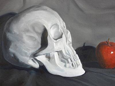 Skull Drawing - Bite Me by Margaret Marzullo