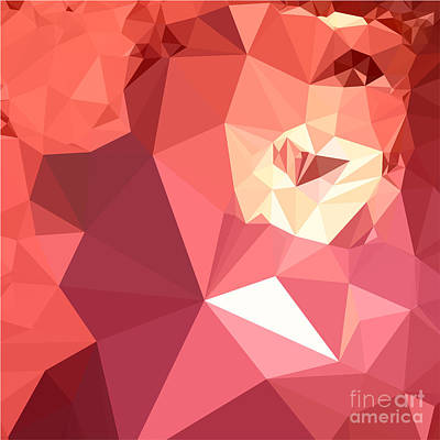 Bittersweet Red Abstract Low Polygon Background Print by Aloysius Patrimonio