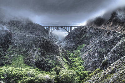Bridges Photograph - Bixby Bridge Through The Fog And  Dale by SC Heffner
