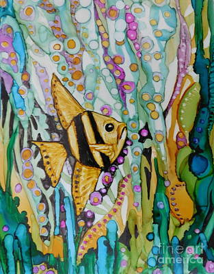 Abstract Using Brilliant Colors Painting - Black And Gold Angelfish by Joan Clear