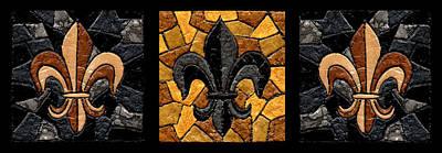 Fleur De Lis Painting - Black And Gold Fleur De Lis Triptych by Elaine Hodges