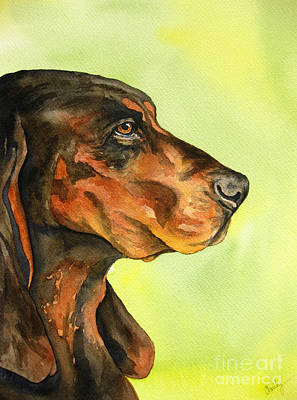 Coonhound Painting - Black And Tan Coonhound by Cherilynn Wood