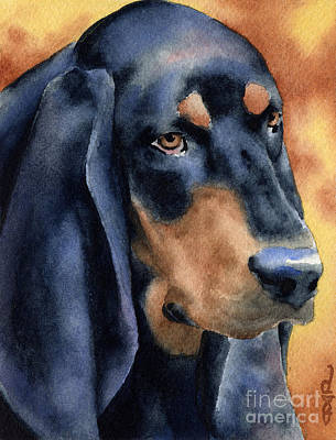 Coonhound Painting - Black And Tan Coonhound by David Rogers