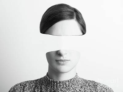Abstract Photograph - Black And White Abstract Woman Portrait Of Identity Theft Concept by Radu Bercan