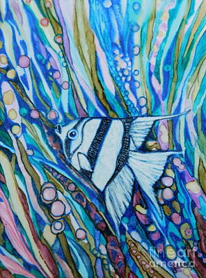 Abstract Using Brilliant Colors Painting - Black And White Angel Fish by Joan Clear