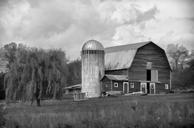 Cow Photograph - Black And White Barn by Donna Doherty