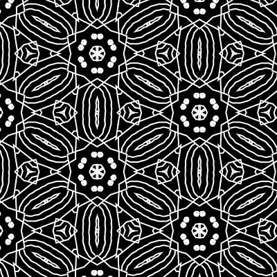 Black And White Boho Pattern 2- Art By Linda Woods Print by Linda Woods