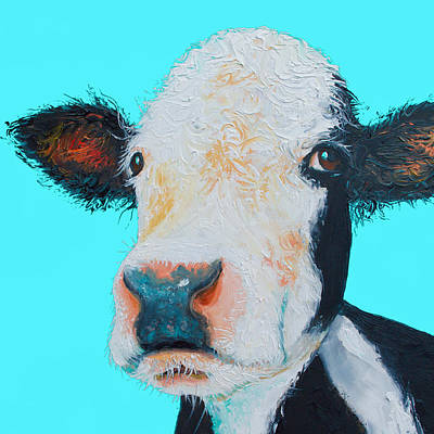 Cow Painting - Black And White Cow On Blue Background by Jan Matson