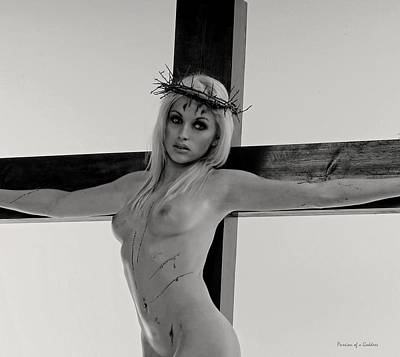 Female Christ Photograph - Black And White Crucifix I by Ramon Martinez