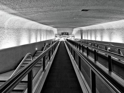 Black And White Escalator To No Where Print by Louis Dallara