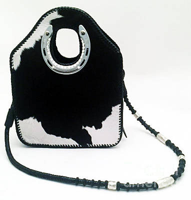 Horse Purse Painting - Black And White Evening Tote by Naia Hannah Haast