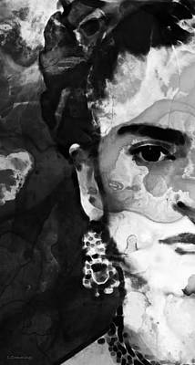 Black And White Frida Kahlo By Sharon Cummings Print by Sharon Cummings