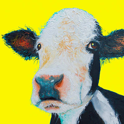 Cow Painting - Black And White Hereford Cow  by Jan Matson