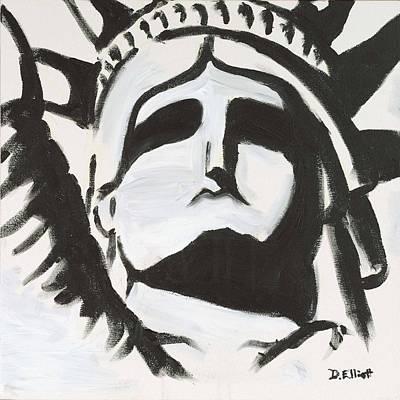 Liberty Painting - Black And White Liberity by Davis Elliott