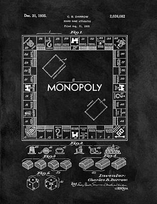 Fun Card Mixed Media - Black And White Monopoly Game Patent by Dan Sproul