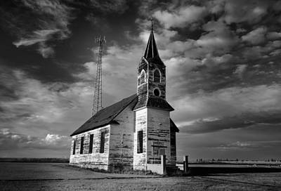 Black And White Of An Old Church In Front Of A Radio Tower   Print by Jeff Swan
