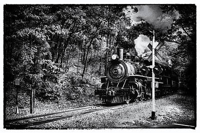 Autumn Foliage Photograph - Black And White Of Essex Steam Train by Jeff Folger