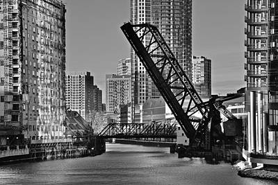 Black And White Of Reverse Angle Kinzie Street Bridge Print by Frozen in Time Fine Art Photography