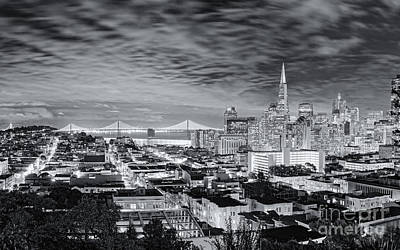Black And White Panorama Of San Francisco Skyline And Oakland Bay Bridge From Ina Coolbrith Park  Print by Silvio Ligutti