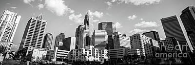 Black And White Panorama Photo Of Charlotte Skyline Print by Paul Velgos
