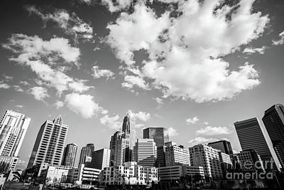 Black And White Photo Of Charlotte Skyline Print by Paul Velgos