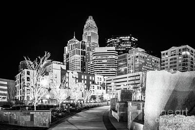 Black And White Photo Of The Charlotte Skyline Print by Paul Velgos