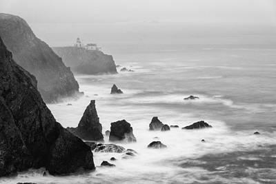 Bonita Point Photograph - Black And White Photograph Of Point Bonita Lighthouse - Marin Headlands San Francisco California by Silvio Ligutti