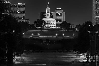 Capital Building In Nashville Tennessee Photograph - Black And White Photography Print Of The State Capital Building Of Nashville Tennessee At Night  by Jeremy Holmes