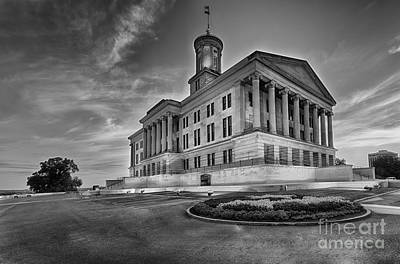 Capital Building In Nashville Tennessee Photograph - Black And White Photography Print Of The State Capital Building Of Nashville Tennessee At Sunrise  by Jeremy Holmes