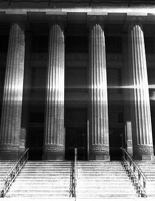 University Of Michigan Digital Art - Black And White Pillars by Phil Perkins